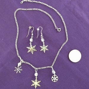 Snowflake Necklace and Earring Set, Winter Jewelry